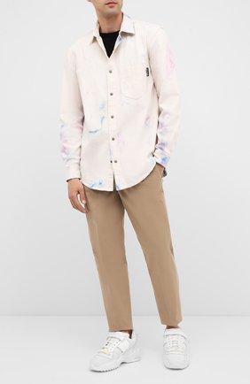 Мужская хлопковая рубашка PALM ANGELS бежевого цвета, арт. PMYD009E20DEN0010184   Фото 2