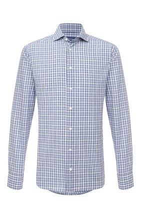 Мужская рубашка из хлопка и льна ETON синего цвета, арт. 1000 01523 | Фото 1