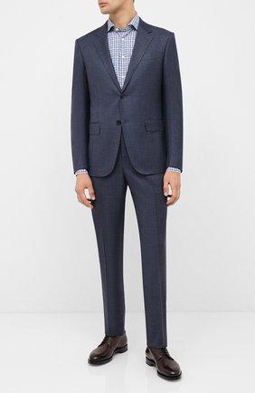 Мужская рубашка из хлопка и льна ETON синего цвета, арт. 1000 01523 | Фото 2