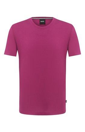Мужская хлопковая футболка BOSS фиолетового цвета, арт. 50379310 | Фото 1