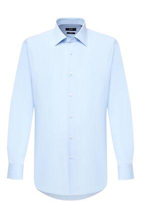 Мужская хлопковая сорочка BOSS голубого цвета, арт. 50433188 | Фото 1