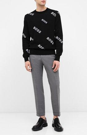Мужской хлопковый джемпер BOSS черно-белого цвета, арт. 50436626 | Фото 2