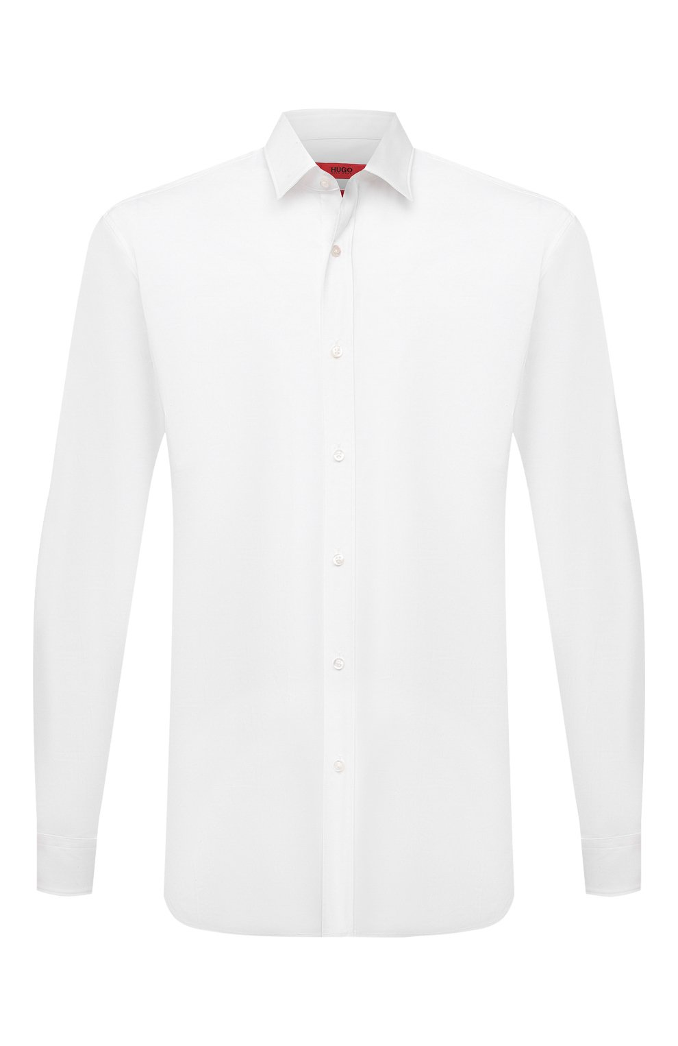 Мужская хлопковая сорочка HUGO белого цвета, арт. 50425897 | Фото 1 (Манжеты: На пуговицах; Воротник: Кент; Рукава: Длинные; Длина (для топов): Стандартные; Материал внешний: Хлопок; Случай: Формальный; Принт: Однотонные; Мужское Кросс-КТ: Сорочка-одежда)