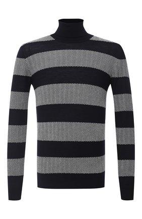 Мужской свитер из шерсти и кашемира GIORGIO ARMANI темно-синего цвета, арт. 6HSMB1/SMB1Z | Фото 1