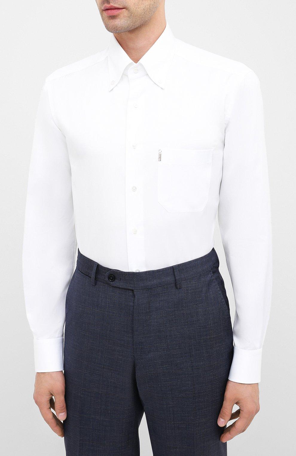 Мужская хлопковая сорочка ZILLI белого цвета, арт. MFU-10715-0299/0010 | Фото 3