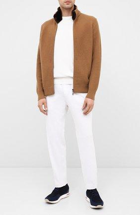 Мужской хлопковые брюки BRUNELLO CUCINELLI светло-серого цвета, арт. M0T353303G | Фото 2