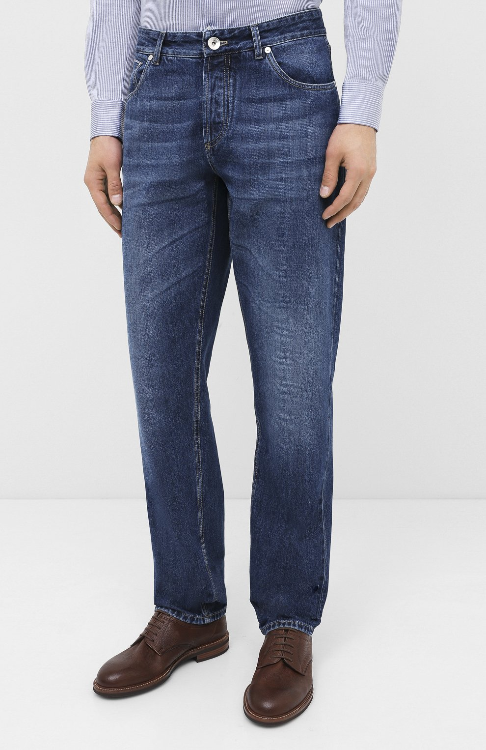 Мужские джинсы BRUNELLO CUCINELLI синего цвета, арт. ME228D2220 | Фото 3