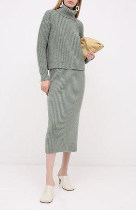 Женская кашемировая юбка LORO PIANA светло-зеленого цвета, арт. FAL2866 | Фото 2