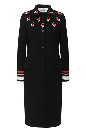 Женское шерстяное пальто VALENTINO черного цвета, арт. UB3CA4T515E   Фото 1