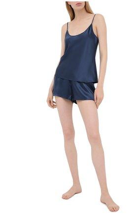 Женские шелковые мини-шорты LA PERLA синего цвета, арт. 0020290 | Фото 2