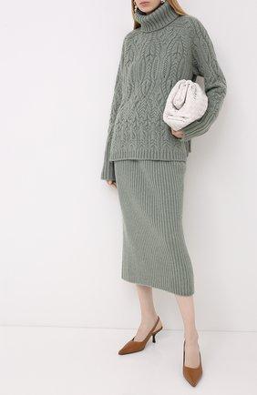Женская кашемировый свитер LORO PIANA светло-зеленого цвета, арт. FAL2081 | Фото 2