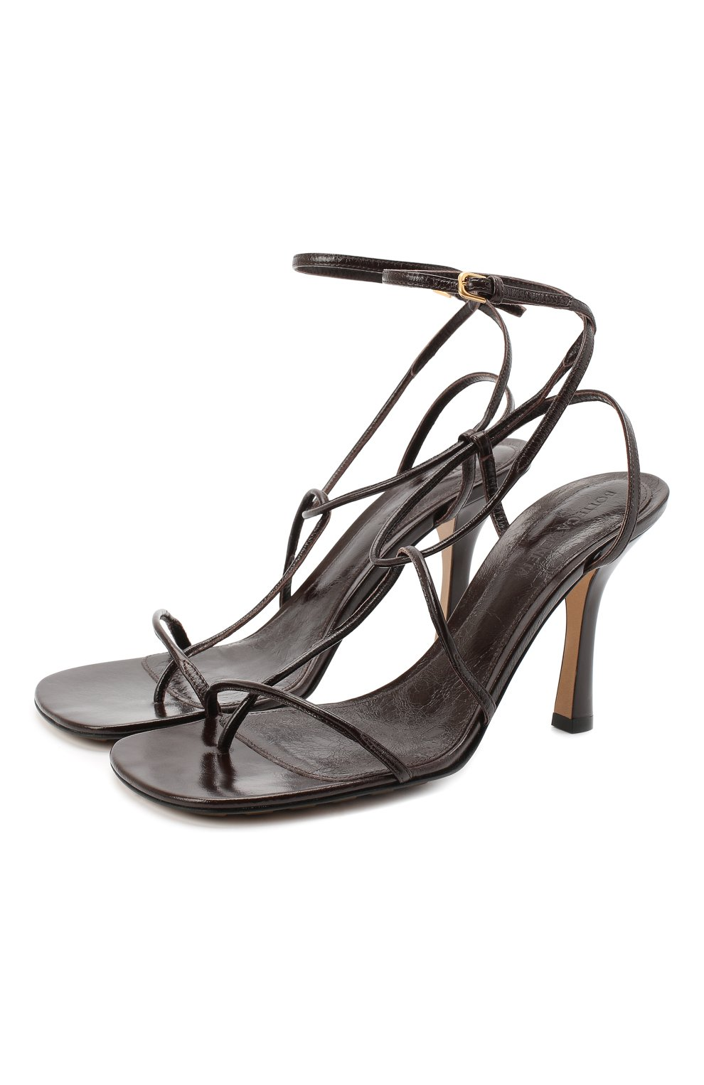 Женские кожаные босоножки bv line BOTTEGA VENETA темно-коричневого цвета, арт. 630178/VBP10 | Фото 1
