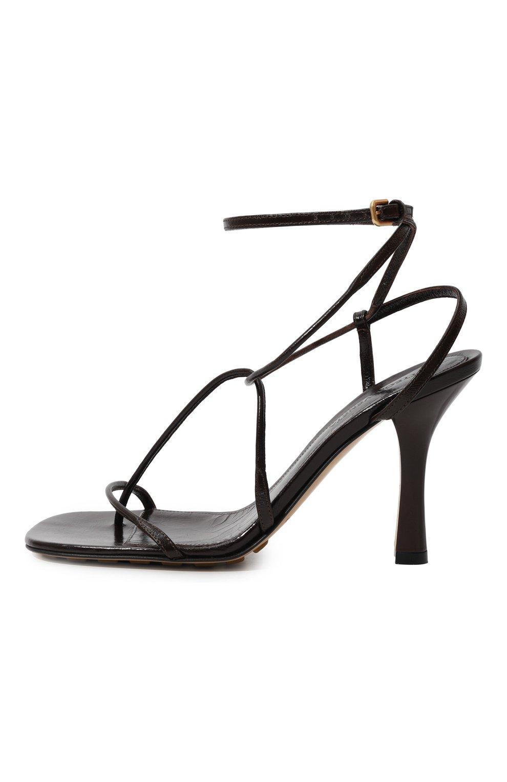 Женские кожаные босоножки bv line BOTTEGA VENETA темно-коричневого цвета, арт. 630178/VBP10 | Фото 4