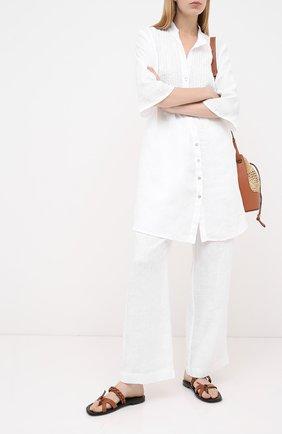 Женские льняные брюки LA FABBRICA DEL LINO белого цвета, арт. 00105 | Фото 2