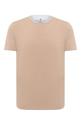 Мужская хлопковая футболка BRUNELLO CUCINELLI бежевого цвета, арт. M0T617423 | Фото 1