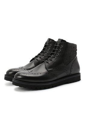 Мужские комбинированные ботинки W.GIBBS черного цвета, арт. 0929070/1426 | Фото 1
