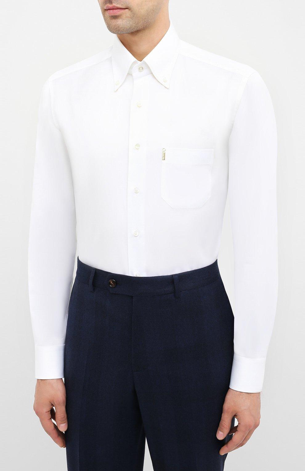 Мужская хлопковая сорочка ZILLI белого цвета, арт. MFU-10715-0299/0006 | Фото 3