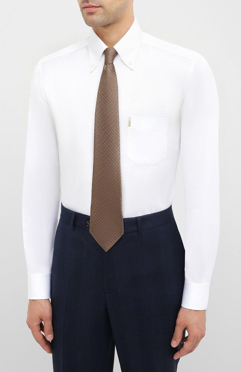 Мужская хлопковая сорочка ZILLI белого цвета, арт. MFU-10715-0299/0006 | Фото 4