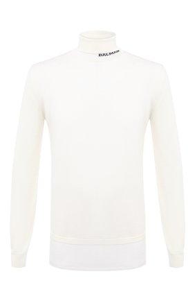 Мужской шерстяной свитер BALMAIN белого цвета, арт. UH13410/K010 | Фото 1