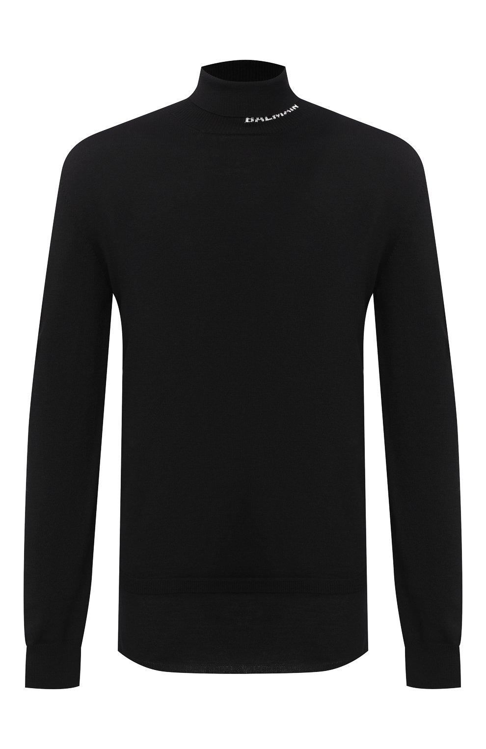 Мужской шерстяной свитер BALMAIN черного цвета, арт. UH13410/K010   Фото 1 (Материал внешний: Шерсть; Рукава: Длинные; Принт: Без принта)
