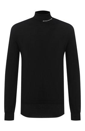 Мужской шерстяной свитер BALMAIN черного цвета, арт. UH13410/K010 | Фото 1