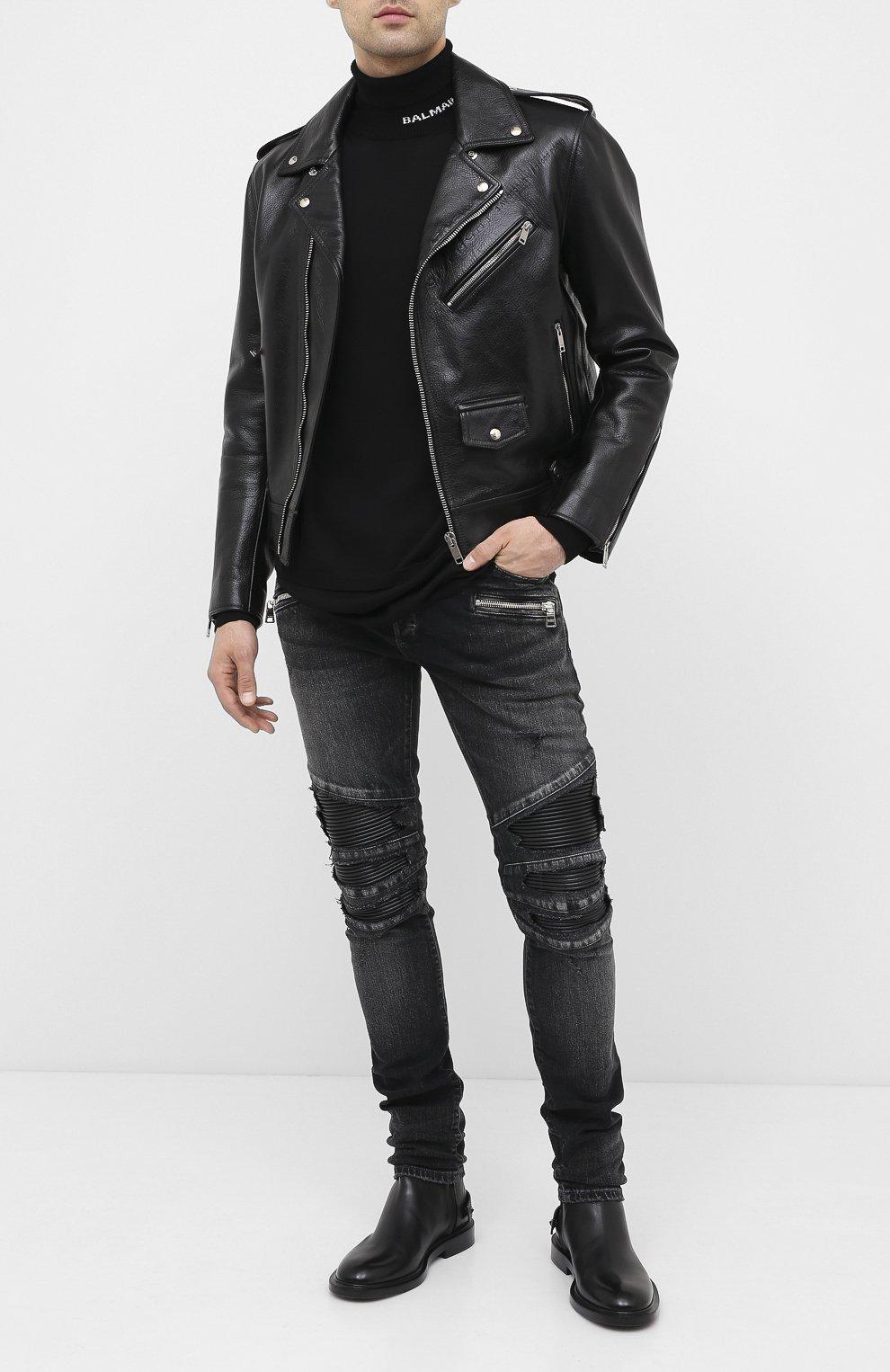 Мужской шерстяной свитер BALMAIN черного цвета, арт. UH13410/K010   Фото 2 (Материал внешний: Шерсть; Рукава: Длинные; Принт: Без принта)