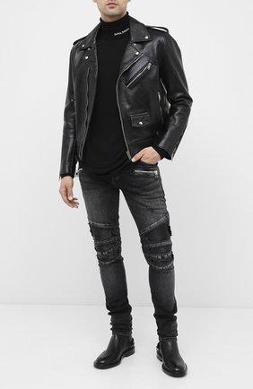 Мужской шерстяной свитер BALMAIN черного цвета, арт. UH13410/K010 | Фото 2