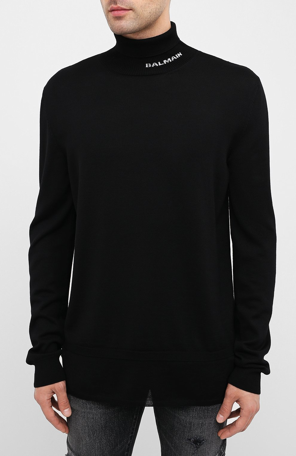 Мужской шерстяной свитер BALMAIN черного цвета, арт. UH13410/K010   Фото 3 (Материал внешний: Шерсть; Рукава: Длинные; Принт: Без принта)