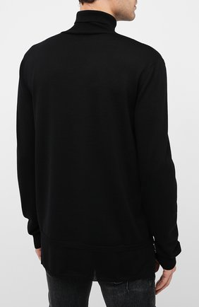 Мужской шерстяной свитер BALMAIN черного цвета, арт. UH13410/K010   Фото 4 (Материал внешний: Шерсть; Рукава: Длинные; Принт: Без принта)