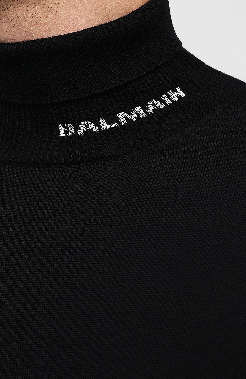 Мужской шерстяной свитер BALMAIN черного цвета, арт. UH13410/K010   Фото 5 (Материал внешний: Шерсть; Рукава: Длинные; Принт: Без принта)