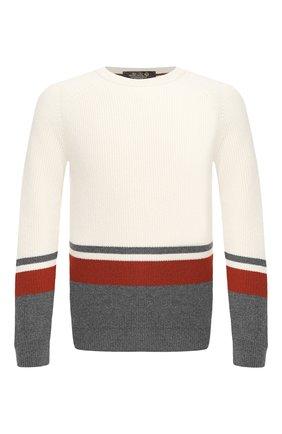Мужской кашемировый свитер LORO PIANA белого цвета, арт. FAL3171 | Фото 1