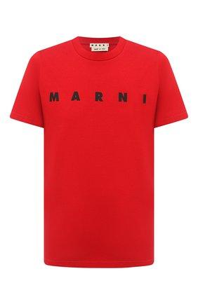 Мужская хлопковая футболка MARNI красного цвета, арт. HUMU0170P0/S22763   Фото 1