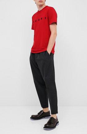 Мужская хлопковая футболка MARNI красного цвета, арт. HUMU0170P0/S22763   Фото 2