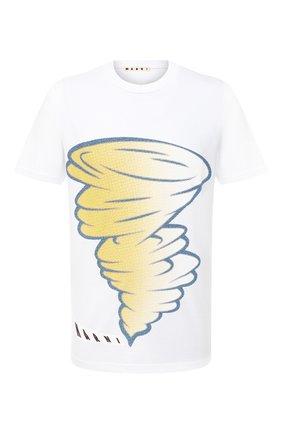 Мужская хлопковая футболка MARNI белого цвета, арт. HUMU0165P0/S22763   Фото 1