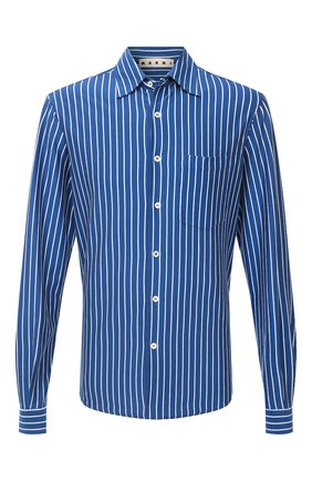 Мужская хлопковая рубашка MARNI синего цвета, арт. CUMU0160A0/S23676   Фото 1