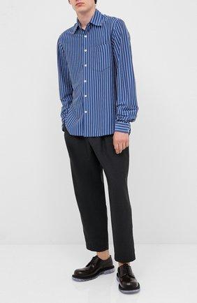 Мужская хлопковая рубашка MARNI синего цвета, арт. CUMU0160A0/S23676   Фото 2