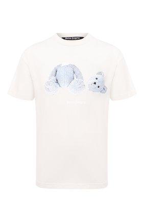 Мужская хлопковая футболка PALM ANGELS белого цвета, арт. PMAA001E20JER0044401 | Фото 1