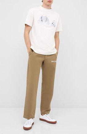 Мужская хлопковая футболка PALM ANGELS белого цвета, арт. PMAA001E20JER0044401 | Фото 2