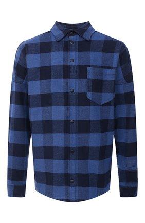 Мужская хлопковая рубашка PALM ANGELS темно-синего цвета, арт. PMGA024E20FAB0024510   Фото 1