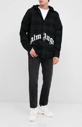 Мужская хлопковая куртка PALM ANGELS темно-зеленого цвета, арт. PMGA042E20FAB0015701 | Фото 2