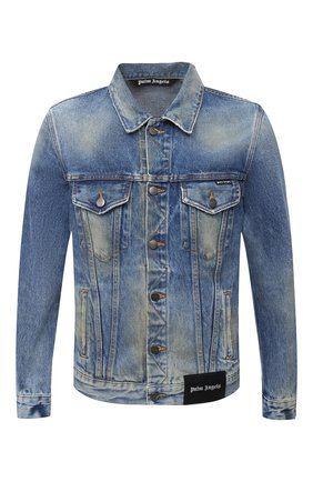 Мужская джинсовая куртка PALM ANGELS синего цвета, арт. PMYE003E20DEN0024016 | Фото 1