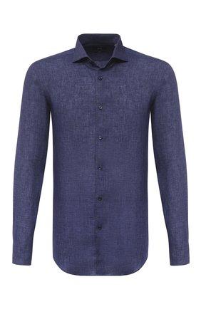 Мужская льняная рубашка BOSS синего цвета, арт. 50432575 | Фото 1
