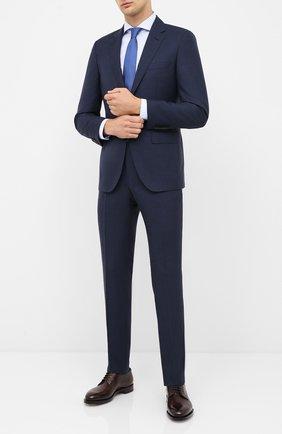 Мужской костюм из шерсти и шелка BOSS темно-синего цвета, арт. 50435059 | Фото 1