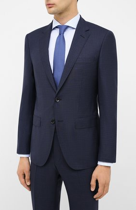 Мужской костюм из шерсти и шелка BOSS темно-синего цвета, арт. 50435059 | Фото 2