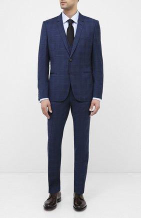 Мужской шерстяной костюм-тройка HUGO темно-синего цвета, арт. 50432343 | Фото 1