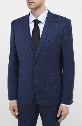 Мужской шерстяной костюм-тройка HUGO темно-синего цвета, арт. 50432343 | Фото 2