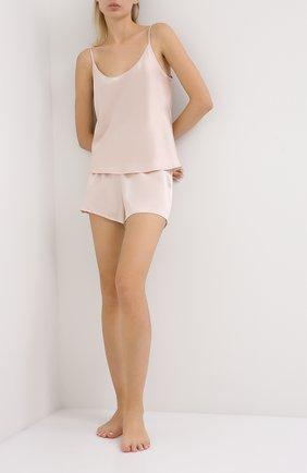 Женские шелковые мини-шорты LA PERLA светло-розового цвета, арт. 0020290 | Фото 2