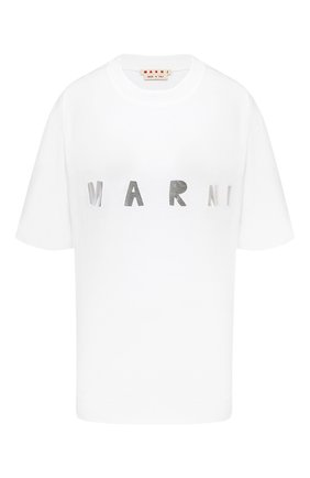 Женская хлопковая футболка MARNI серебряного цвета, арт. THJET49EPD/SCQ87 | Фото 1