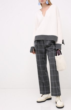 Женские шерстяные брюки MARNI серого цвета, арт. PAMA0192U0/TW893 | Фото 2