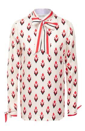 Женская шелковая блузка VALENTINO кремвого цвета, арт. UB3AE5125LB   Фото 1